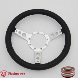 "14"" Classic Wrapped Steering Wheel Polished 9 bolt"
