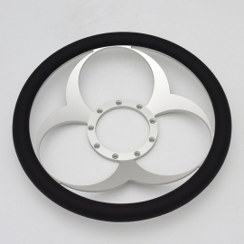 "Bio-Hazard 14"" Satin Billet Steering Wheel with Half Wrap Rim"