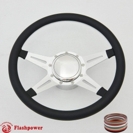 "Racer 15.5"" Polished Billet Steering Wheel Kit Half Wrap with Horn Button and Adapter"