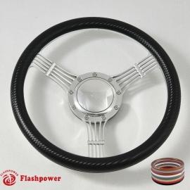 """14"""" Banjo Polished Billet Steering Wheel With Carbon Fiber Vinyl Wrap and Horn Buton"""