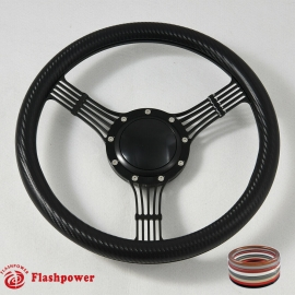 """14"""" Banjo black  Billet Steering Wheel With Half Wrap and Horn Button"""