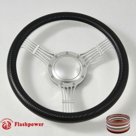 """14"""" Banjo satin Billet Steering Wheel With Half Wrap and Horn Button"""