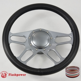 "GUN METAL 14"" BILLET ALUMINUM 9 HOLE FULL WRAP STEERING WHEEL KIT W/HORN BUTTON & ADAPTER FOR 1969-1994"