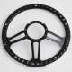"""14"""" Black Billet Steering Wheel With Blue Half Wrap and Horn Buton"""