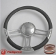 """14"""" Satin Billet Steering Wheel With Blue Half Wrap and Horn Buton"""