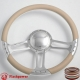 """14"""" Polished Billet Steering Wheel With Blue Half Wrap and Horn Buton"""