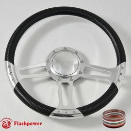 "14"" Polished Billet Steering Wheel With Carbon Fiber Vinyl Wrap and Horn Buton"