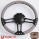 "14"" Black Billet Steering Wheel With Blue Half Wrap and Horn Buton"