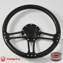 "14"" Black Billet Steering Wheel With Carbon Fiber Vinyl Wrap and Horn Buton"