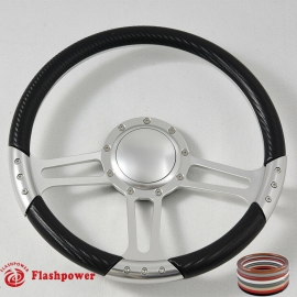 "14"" Satin Billet Steering Wheel With Carbon Fiber Vinyl Wrap and Horn Buton"
