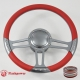 "Trinity 14"" Gun Metal Billet 9 Hole Steering Wheel Kit w/Horn Button & adaprer For 1969-1994"