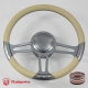 "Trinity 14"" Gun Metal Billet 9 Hole Steering Wheel Kit w/Horn Button & adaprer For 1969-1994"