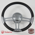 "14"" TRINITY GUN METAL BILLET ALUMINUM 9 HOLE STEERING WHEEL KIT W/HORN BUTTON & ADAPTER FOR 1969-1994"