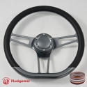 "14"" D type Gun Metal Billet Steering Wheel Half Wrap wtih Horn Buton-Black"