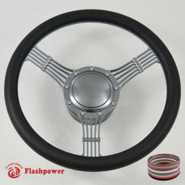 "GUN METAL 14"" BILLET ALUMINUM 9 HOLE STEERING WHEEL KIT W/HORN BUTTON & ADAPTER FOR 1969-1994"