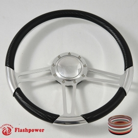 "15.5"" Polished Billet Steering Wheel With Carbon Fiber Vinyl Wrap and Horn Buton"