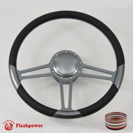 "Gun Metal 14"" Billet 9 Hole Full Wrap Steering Wheel Kit W/Horn Buuton & Adapter for 1969-1994 GM"