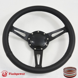 "15"" Classic Wrapped Black Steering Wheel 9 bolt with Black Billet Horn Button"