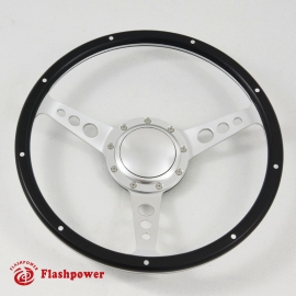 14'' Laminated Black Forest Wood Satin Steering Wheel with Horn Button