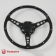 14'' Laminated Black Forest Wood Black Steering Wheel with Billet Horn Button