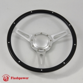 14'' Laminated Black Forest Wood Steering Wheel with Horn Button