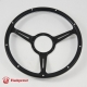 15'' Laminated Black Forest Wood Steering Wheel Black with billet Horn Button