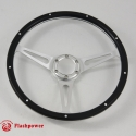 15'' Laminated Black Forest Wood Satin Steering Wheel 6 Bolt w/ Horn Button