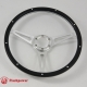15'' Laminated Black Forest Wood Satin Steering Wheel with Horn Button