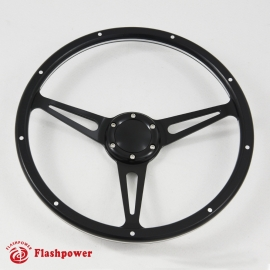 15'' Laminated Black Forest  Black Wood Steering Wheel with Horn Button