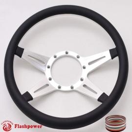 "Racer 14"" Polished Billet Steering Wheel with Full Wrap"