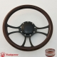"""Viral 14"""" Black Billet Steering Wheel with Half Wrap and Horn Button"""