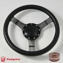 "14"" Black Billet Steering Wheel With Black Carbon Fiber Vinyl Full Wrap and Horn Buton"