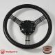 "14"" Black Billet Steering Wheel With Black CF Vinyl Full Wrap and Horn Button"