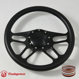 "14"" Black Billet Steering Wheel With Carbon Fiber Vinyl Full Wrap and Horn Buton"