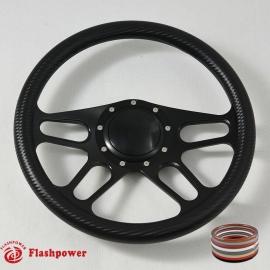 "14"" Black Billet Steering Wheel With Full Black Carbon Fiber Vinyl Wrap and Horn Buton"