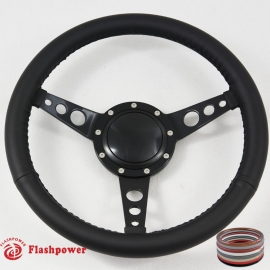 "14"" Classic Wrapped Steering Wheel 9 bolt Black with Billet Horn Button"