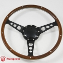 """14"""" Classic Steering Wheel Black with Billet Horn Button"""