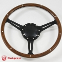 """14"""" Classic Steering Wheel Black Anodized Spoke 9 Rivets with Billet Horn Button"""
