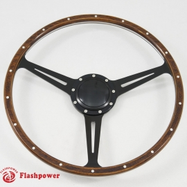 Black 17'' Laminated Wood Steering Wheel with billet horn button