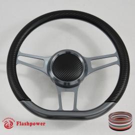 "14"" Sector D Type Billet Steering Wheel Gun Metal"