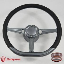 "D-type 14"" Gun Metal Billet Steering Wheel Kit Half Wrap with Horn Button and Adapter"