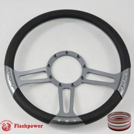 """14"""" Gun Metal Billet Steering Wheel With Black Half Wrap"""