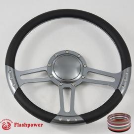 "14"" Gun Metal Billet Steering Wheel With Black Half Wrap and Horn Buton"