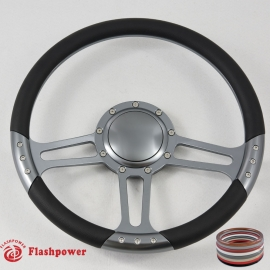 "14"" Gun Metal Billet Steering Wheel with Half Wrap and Horn Button"