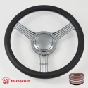 "Banjo 15.5"" Gun Metal Billet Steering Wheel with Half Wrap and Horn Button"
