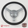 "Banjo 15.5"" Gun Metal Billet Steering Wheel with Half Wrap and Horn Button"
