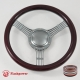 """5-String Banjo 14"""" Satin Billet Steering Wheel with Half Wrap and Horn Button"""