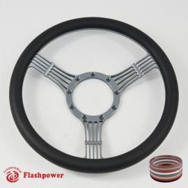 """Banjo 15.5"""" Gun Metal Billet Steering Wheel Fully Wrapped"""
