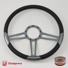 "15.5"" Trinity Gun Metal Billet Steering Wheel with Half Wrap Rim"