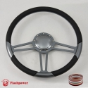 "15.5"" Trinity Gun Metal Billet Steering Wheel with Half Wrap and Horn Button"